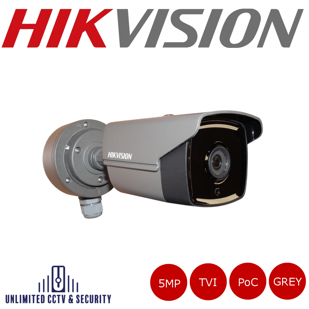 Hikvision 5MP fixed lens EXIR POC bullet camera, HD-TVI technology, true day/night, EXIR technology, smart IR and up to 40m IR distance.