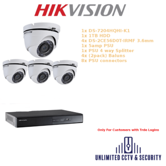 Hikvision 4 Camera CCTV system with 1x DS-7204HQHI-K1, 1x 1TB HDD, 4x DS-2CE56D0T-IRMF 3.6mm 20m Night Vision, 1x 5amp PSU and more.
