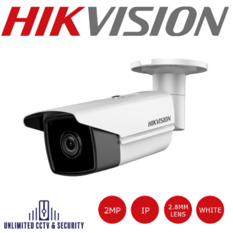 Hikvision DS-2CD2T23G0-I5 2MP fixed lens bullet camera with IR, triple stream, H.265+ compression, IP67 weatherproof with up to 50m IR distance.