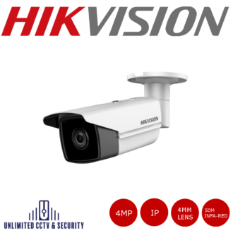 Hikvision DS-2CD2T43G0-I5 4MP 4mm fixed lens bullet camera with IR with triple stream, H.265+ compression and up to 50m IR distance.