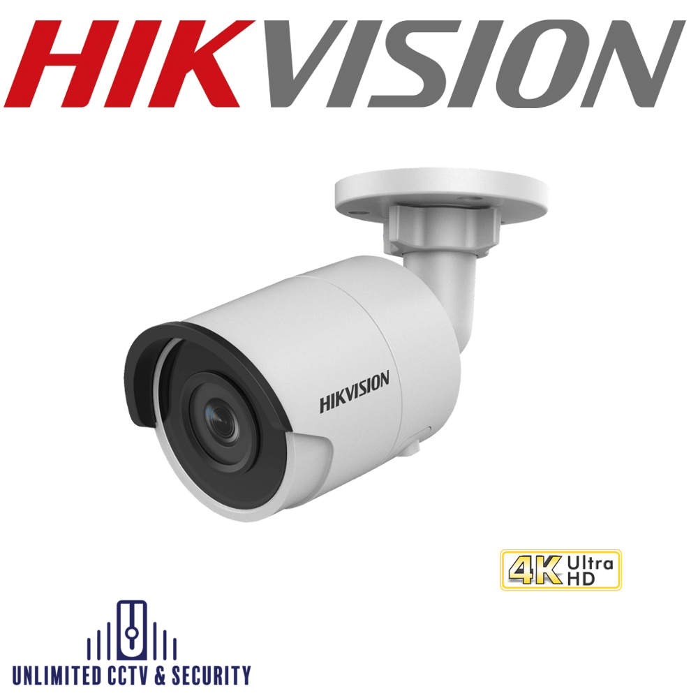 Hikvision 8MP 4K fixed lens ultra low light bullet camera with smart IR, EXIR 2.0 technology, IP67 weatherproof and up to 40m IR distance.