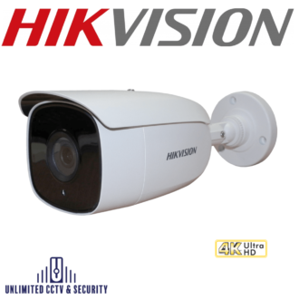 Hikvision DS-2CE18U8T-IT3 8MP fixed lens ultra low light bullet camera with smart IR, EXIR 2.0 technology and up to 60m IR distance.