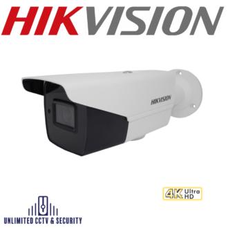 Hikvision 8MP 4K motorized varifocal lens ultra low light bullet camera, adopts HD-TVI technology, EXIR 2.0 technology and up to 80m IR distance.