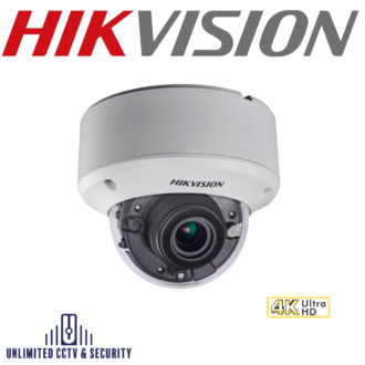 Hikvision DS-2CE59U8T-VPIT3Z 8MP 4K motorized varifocal lens ultra low light EXIR dome camera with smart IR, EXIR technology and up to 60m IR distance.