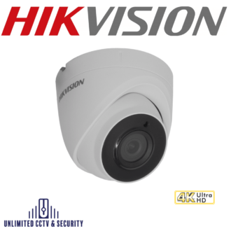 Hikvision DS-2CE78U8T-IT3 8MP fixed lens ultra low light turret camera with smart IR, EXIR 2.0 technology and up to 60m IR distance.