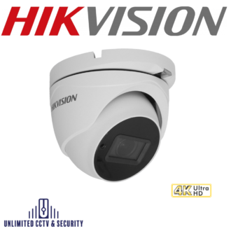 Hikvision DS-2CE79U8T-IT3Z 8MP 4K motorized varifocal lens ultra low light turret camera, adopts HD-TVI technology, ultra-low light up to 80m IR distance.
