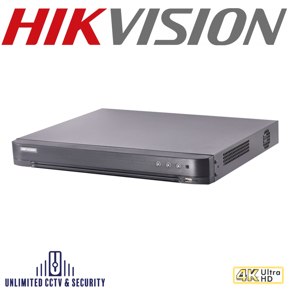 Hikvision DS-7204HTHI-K1 4 channel TVI Turbo 4.0 8MP 4K DVR, connectable to HD-TVI, AHD, IP, CVI & analogue cameras with H.265+ compression.