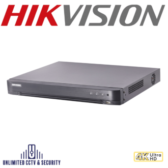 Hikvision DS-7208HTHI-K2 8 channel TVI Turbo 4.0 8MP 4K DVR, connectable to HD-TVI, AHD, IP, CVI & analogue cameras and H.265+ compression.