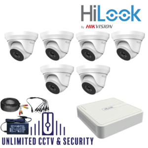 HILOOK TVI 6 Camera kit with 4MP cams and 40m IR