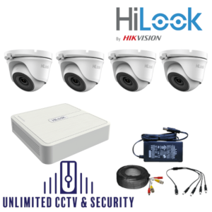 HILOOK TVI 4 Camera kit with 4MP cams and 20m IR