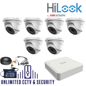 HILOOK TVI 6 Camera kit with 4MP cams and 20m IR