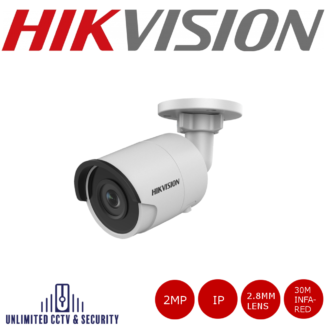 Hikvision 2MP fixed lens bullet camera with IR with triple stream, up to 30m IR distance, H.265+ compression, 120dB wide dynamic range and 2 analytics.