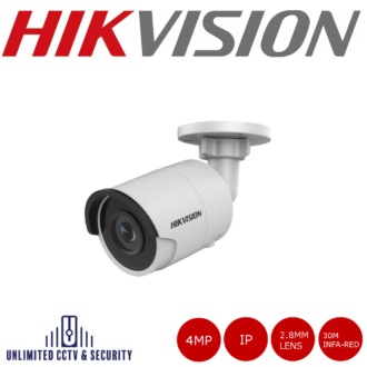 Hikvision DS-2CD2043G0-I 4MP high resolution 2.8mm fixed lens bullet camera with IR, triple stream, up to 30m IR distance and H.265+ compression.