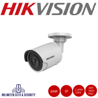 Hikvision 6MP high resolution fixed lens bullet camera with IR, triple stream, H.265+ compression, up to 30m IR distance and 2 analytics.