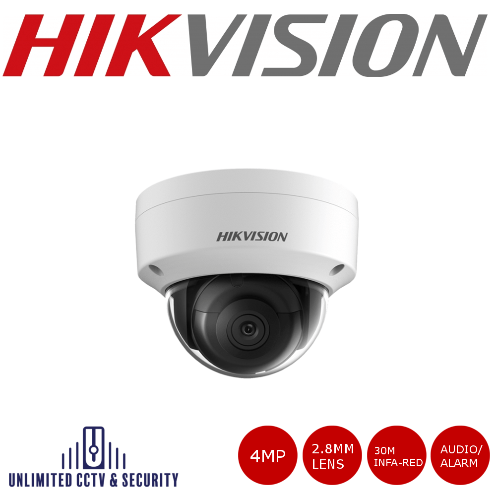 HikvisionDS-2CD2143G0-IS 4MP high resolution 2.8mm fixed lens dome camera with IR, triple stream, 3 axis mount and up to 30m IR distance.