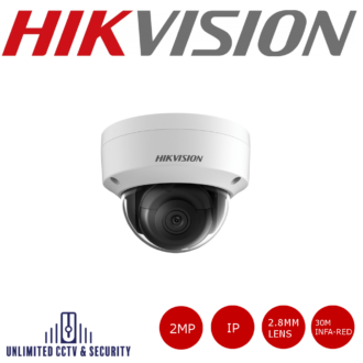 Hikvision DS-2CD2123G0-I 2MP fixed lens dome camera with IR, triple stream, a 3 axis mount, H.265+ compression and up to 30m IR distance.