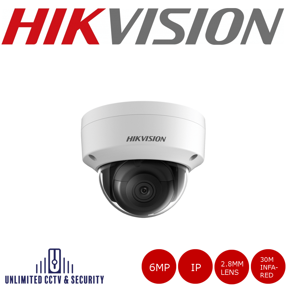 Hikvision 6MP high resolution fixed lens dome camera with IR, triple stream, a 3 axis mount, up to 30m IR distance and H.265+ compression.