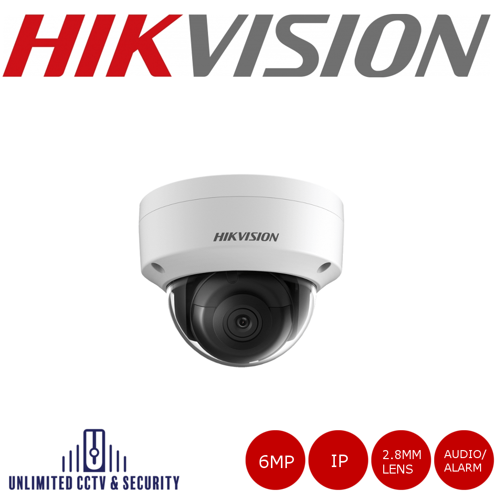 Hikvision 6MP fixed lens dome camera with IR & audio/alarm, triple stream, a 3 axis mount, up to 30m IR distance and H.265+ compression.