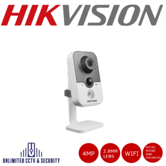 HikvisionDS-2CD2442FWD-IW 4MP fixed lens cube camera with IR, wifi and built in microphone/speakers, dual stream and up to 10m IR distance.