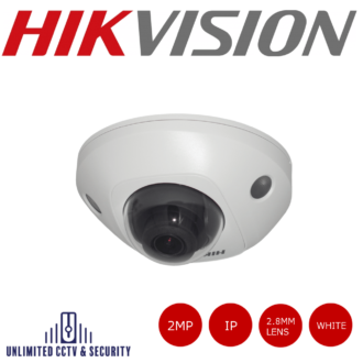 2MP fixed lens mini dome camera with IR, wifi & built in microphone, full HD 1080p real-time video, triple stream, IP66 weatherproof and H.265+ compression.
