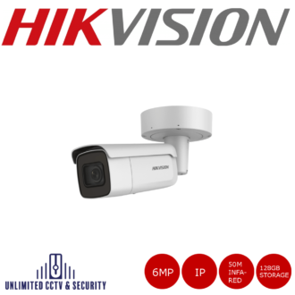 Hikvision 6MP high resolution motorised varifocal lens bullet camera, triple stream, 2 analytics, up to 50m IR distance and H.265+ compression.