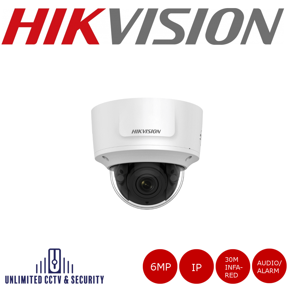 Hikvision 6MP high resolution motorized varifocal lens dome camera with IR, triple stream, 2 analytics, up to 30m IR distance and H.265+ compression.