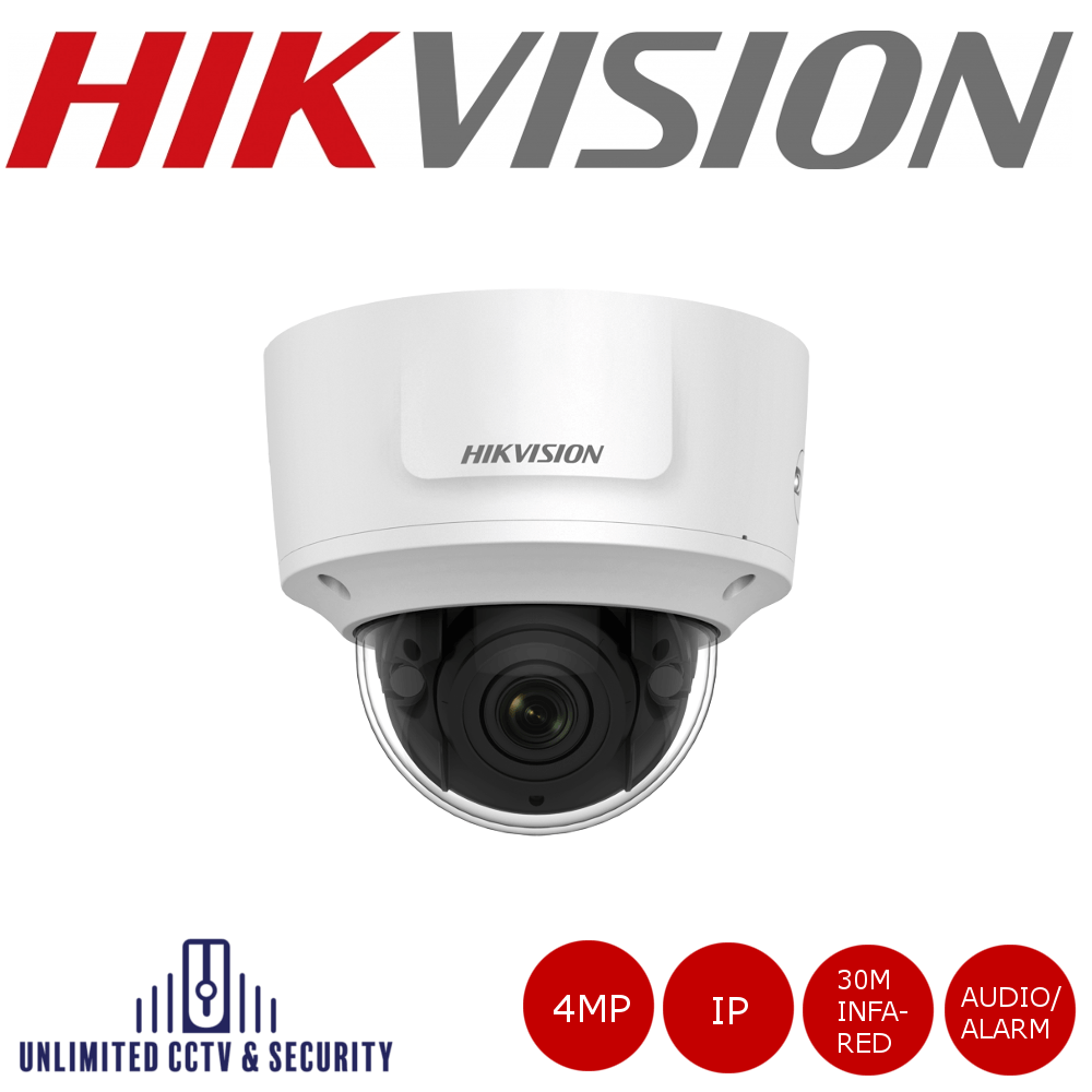 Hikvision 4MP motorized varifocal lens dome camera with up to 30M IR, triple stream, H.265+ compression, 2 analytics and vandal resistant up to IK10.
