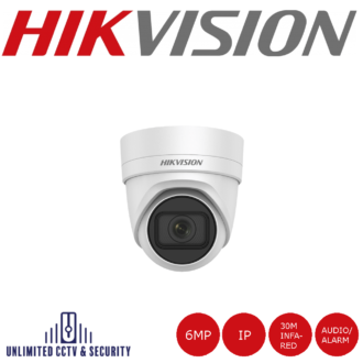 Hikvision 6MP high resolution motorized varifocal lens turret camera with IR, triple stream, up to 30m IR distance, H.265+ compression and 2 analytics.