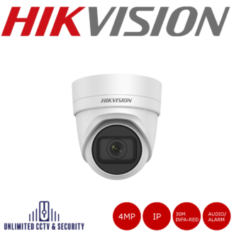 HikvisionDS-2CD2H43G0-IZS 4MP high resolution2.8mm - 12mmmotorised varifocal lens turret camera with IR, triple stream and up to 30m IR distance.