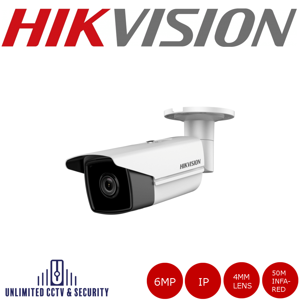 Hikvision 6MP high resolution 4mm fixed lens bullet camera with IR, triple stream, IP67 weatherproof, up to 50m IR distance and H.265+ compression.