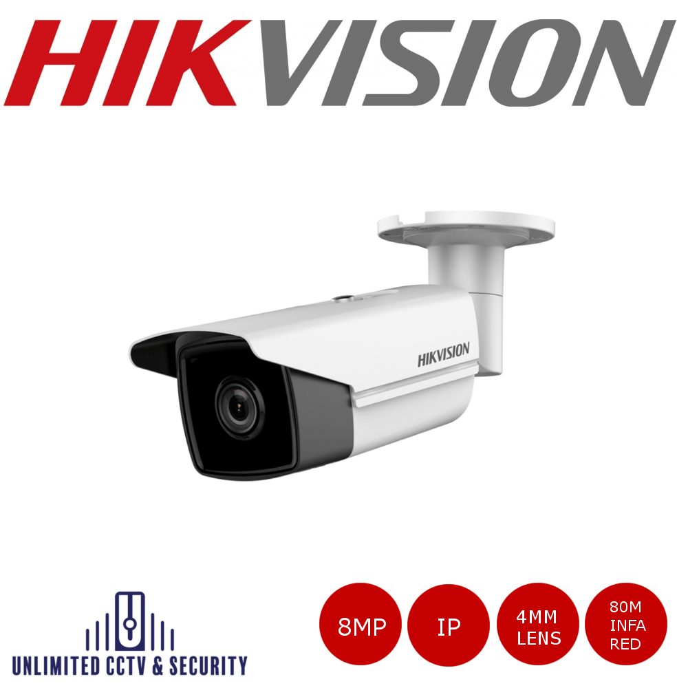 Hikvision 8MP fixed lens bullet camera with IR. 8MP high resolution, 4mm fixed lens, triple stream and up to 80m IR distance