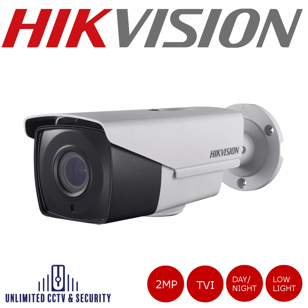 Hikvision 2MP motorized varifocal ultra low light EXIR PoC bullet camera, adopts HD-TVI technology, TVI test monitor port and ultra low light.