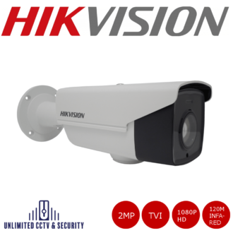 DS-2CE16D9T-AIRAZH 2MP 1080p HD camera with 120M infra-red with 1080P HD video output, dual output, analogue/HD-TVI and up to 120m IR distance.