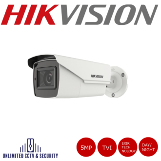 Hikvision 5MP motorized varifocal lens POC bullet camera with EXIR technology, HD-TVI technology, true day/night, smart IR and up to 40m IR distance.