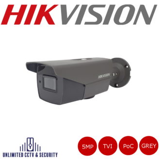 Hikvision 5MP motorized varifocal lens EXIR POC bullet camera with HD-TVI technology, true day/night, smart IR, EXIR technology and up to 40m IR distance.