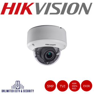 Hikvision 5MP motorized varifocal lens EXIR vandal resistant dome camera with EXIR technology, HD-TVI technology, true day/night and up to 40m IR distance.