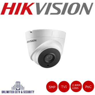 Hikvision 5MP 2.8MM fixed lens PoC EXIR turret camera with HD-TVI technology, true day/night, smart IR, EXIR technology and up to 40m IR distance.