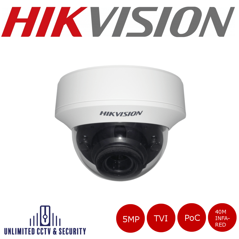 Hikvision 5MP motorized varifocal lens PoC EXIR internal dome camera, HD-TVI technology, true day/night, EXIR technology and up to 40m IR distance.