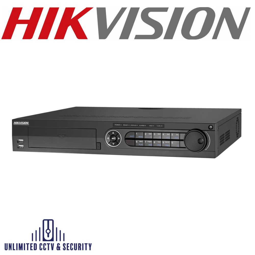 Hikvision 32 channel Turbo 4.0 TVI DVR, connectable to HD-TVI, AHD, IP & analogue cameras, up to 40ch 4MP ONVIF conformant IP cameras input.