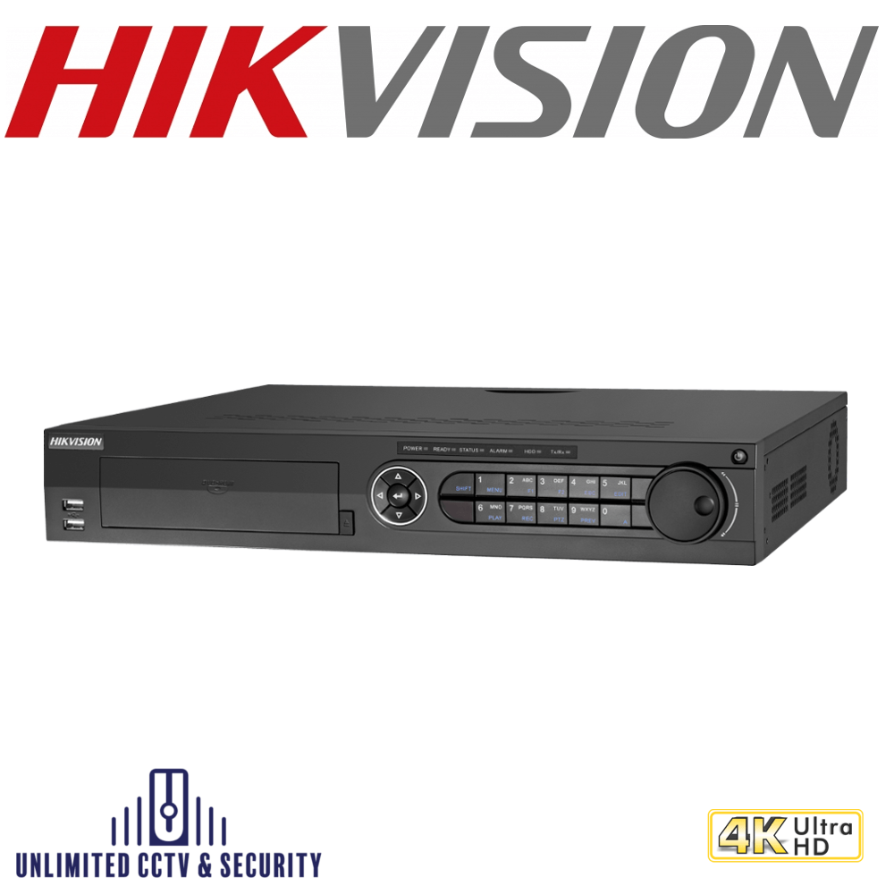 Hikvision 16 channel TVI Turbo 4.0 8MP 4K DVR, connectable to HD-TVI, AHD, IP, CVI & analogue cameras and Up to 18-ch 8MP IP cameras input.