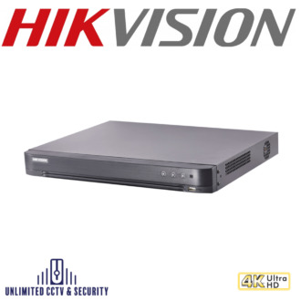Hikvision 16 channel TVI Turbo 4.0 8MP 4K DVR, connectableto HD-TVI, AHD, IP, CVI & analoguecameras and up to 2ch 6MP ONVIF conformant IP cameras input.