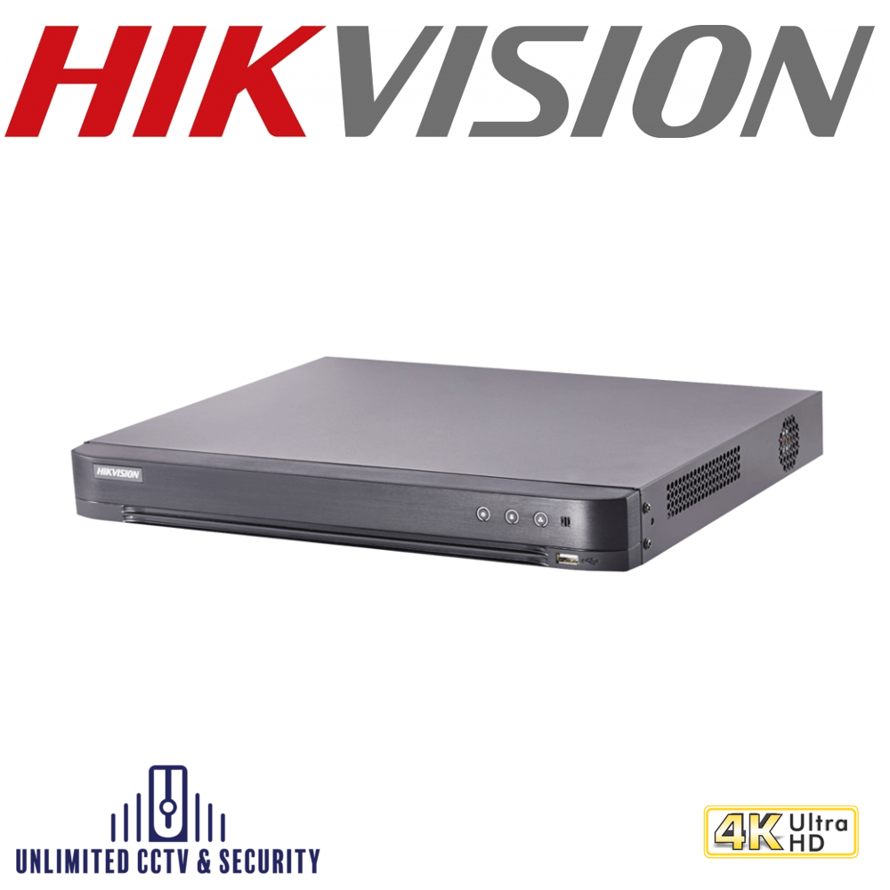 Hikvision 16 channel TVI Turbo 4.0 8MP 4K DVR, connectable to HD-TVI, AHD, IP, CVI & analogue cameras and up to 2ch 6MP ONVIF conformant IP cameras input.