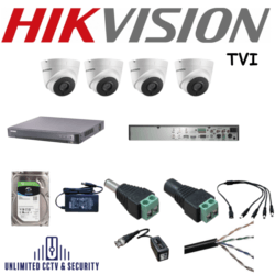 Hikvision Turbo HD CCTV System with 4x Hikvision TVI CCTV Camera 2.8mm Lens with 30m Night vision, a 1x Hikvision TVI DVR and more.