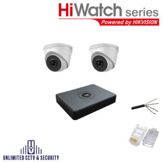 HiWatch by Hikvision 2 camera CCTV System with 2 day and night cameras and 8 Channel Recorder including the cables and crimp ends ready to fit.