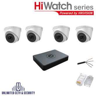 HiWatch by Hikvision 4 camera CCTV System with 4 day and night cameras and 8 Channel Recorder including the cables and crimp ends ready to fit.