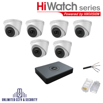 HiWatch by Hikvision 6 camera CCTV System with 6 day and night cameras and 8 Channel Recorder inc the cables and crimp ends ready to fit.