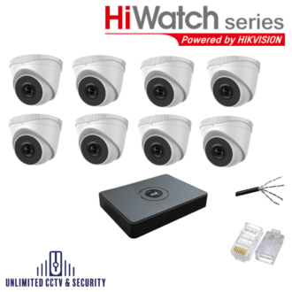 HiWatch by Hikvision 8 camera CCTV System with 8 day and night cameras and 8 Channel Recorder inc the cables and crimp ends ready to fit.