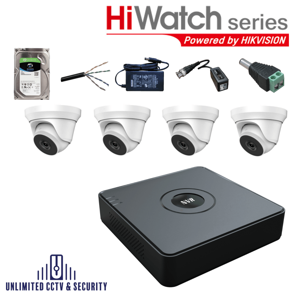HiWatch by Hikvision 4 camera CCTV System with 4 day and night cameras and 4 Channel Recorder including the cables and PSU ready to fit.
