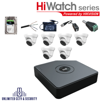 HiWatch by Hikvision 6 camera CCTV System with 6 day and night cameras and 6 Channel Recorder including the cables and PSU ready to fit.