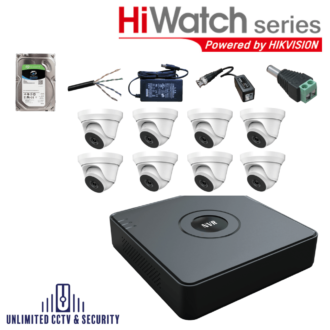 HiWatch by Hikvision 8 camera CCTV System with 8 day and night cameras and 8 Channel Recorder including the cables and PSU ready to fit.